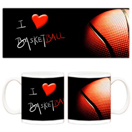 Taza I love Basketball balón