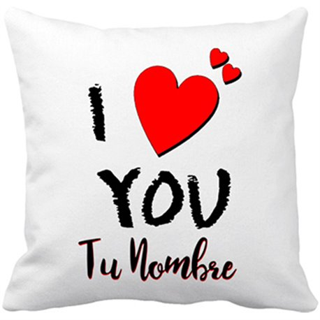 Cojín con relleno I Love You personalizable con nombre