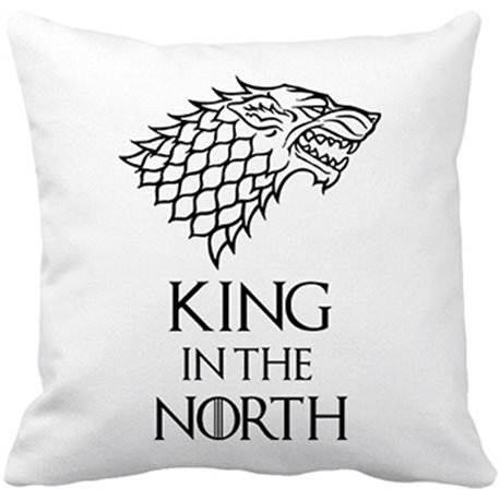 Cojín con relleno frase ilustración King In The North Stark