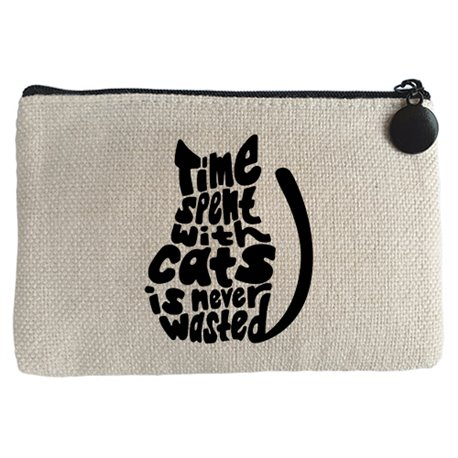 Monedero frase para amantes de gatos time spent with cats is never wasted