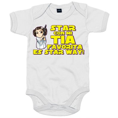 Body bebé Star con mi tia favorita es Star Way parodia Princesa Leia