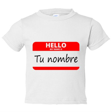 Camiseta niño Hello My Name Is tu nombre personalizable