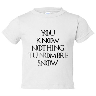 Camiseta niño frase personalizable Pon Tu Nombre ejemplo You Know Nothing Carlos Snow