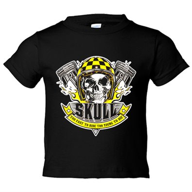 Camiseta niño motero Skull Too Fast To Ride Too Young To Die