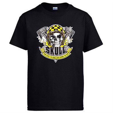 Camiseta motero Skull Too Fast To Ride Too Young To Die
