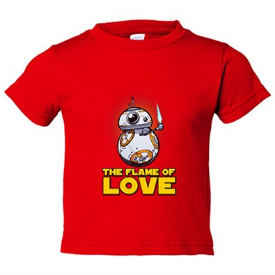 Camiseta niño parodia BB8 The Flame Of Love friki