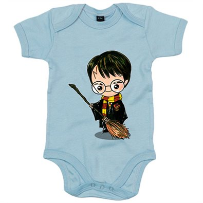 Body bebé Chibi Kawaii Harry Potter con escoba voladora parodia