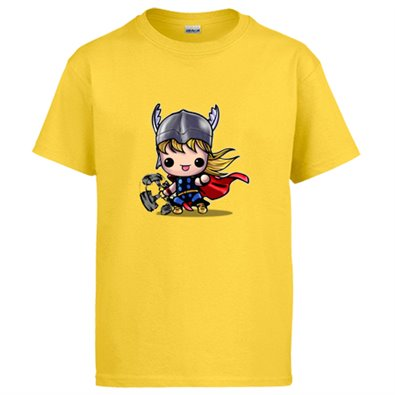Camiseta Chibi Kawaii Thor comic parodia - color Amarillo, talla L