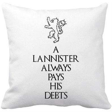 Cojín con relleno ilustración A Lannister Always Pays His Debts frase Tyrion Lannister - color Blanco
